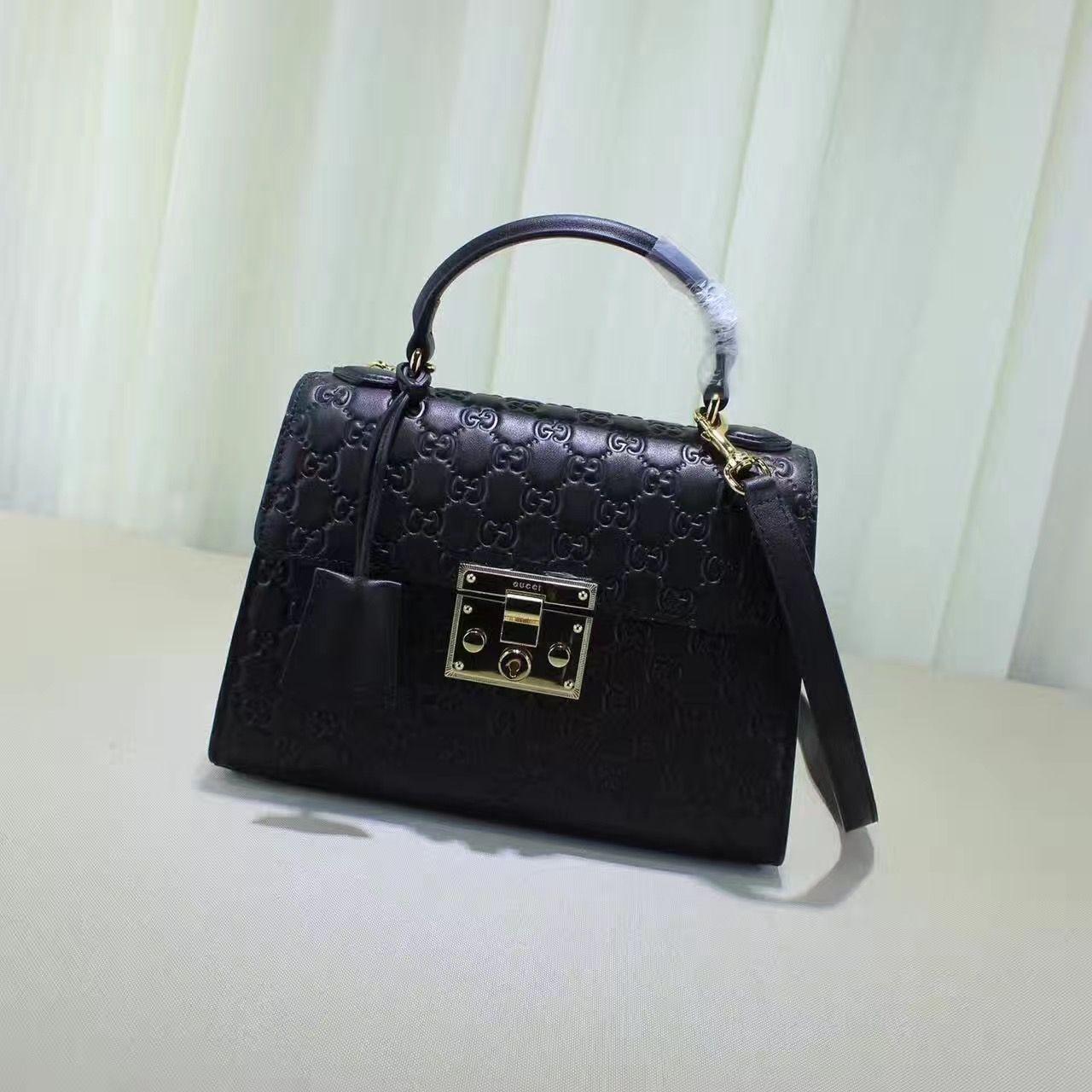 7a1cad5f9255fe Gucci Padlock Signature Top Handle Bag 100% Authentic | Real Gucci Wallets