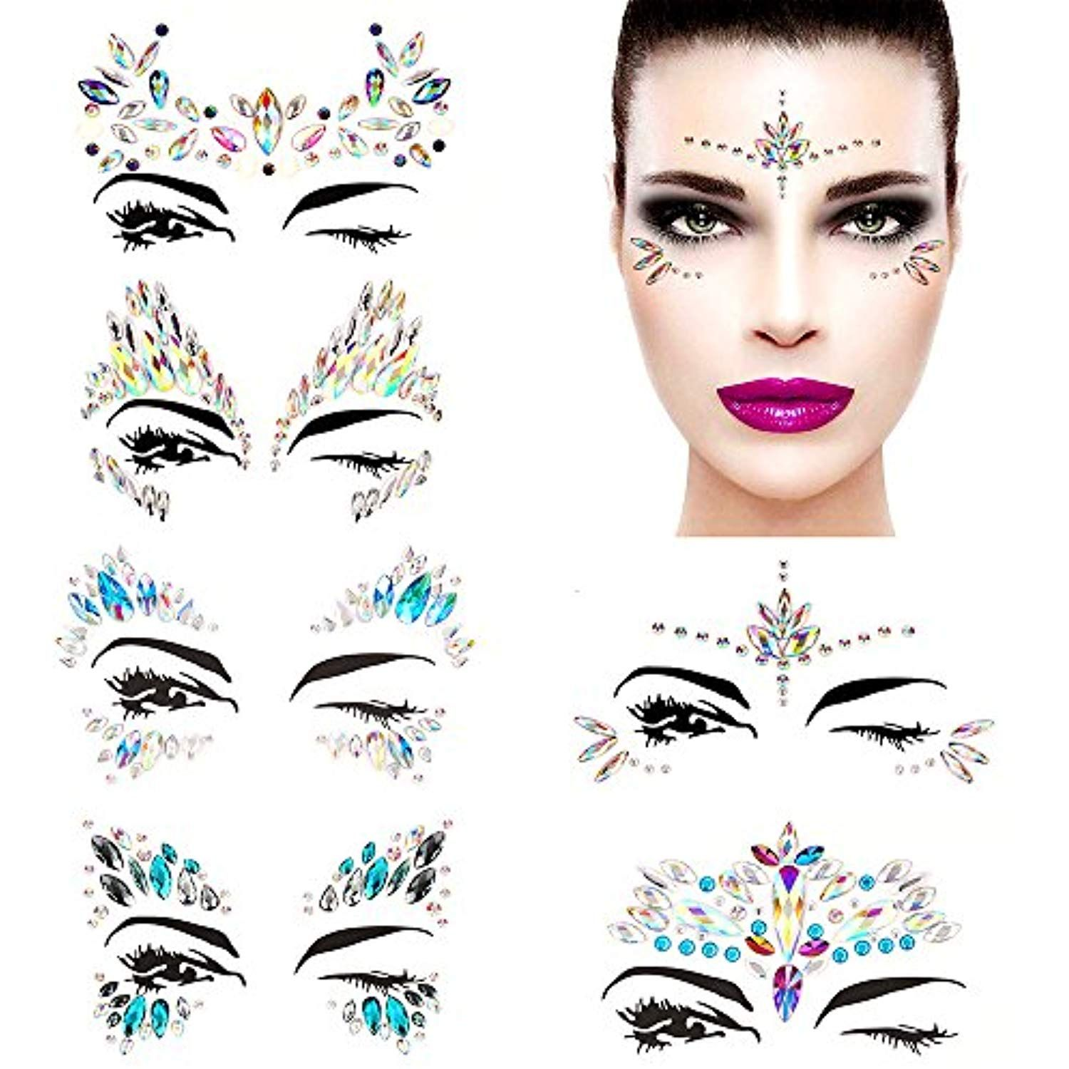 Bling 6 Sets Self-adhesive Mermaid Face Gems Stickers 52344fe11e47