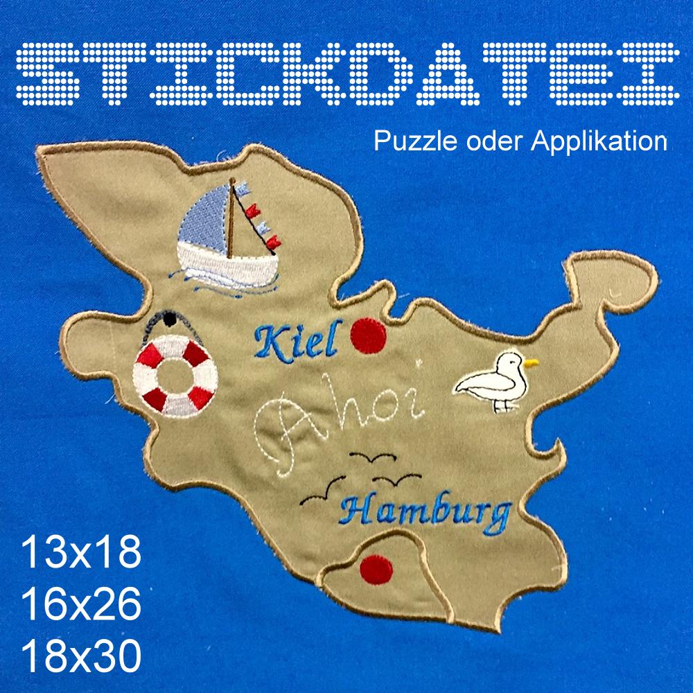 Stickmuster Hamburg Schleswig H Puzzle Applikation 3 Grossen Ein Designerstuck Von Gretevomlaendle Bei Dawanda Etsy Applikationen Stickmuster