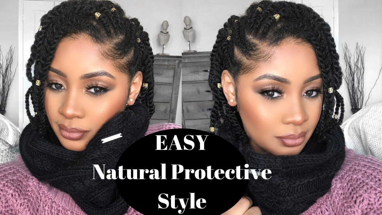 Easy Natural Hair Protective Style Side Flat Twist Two Strand Twist Tutorial Youtube Twist Hairstyles Natural Hair Twists Flat Twist Hairstyles