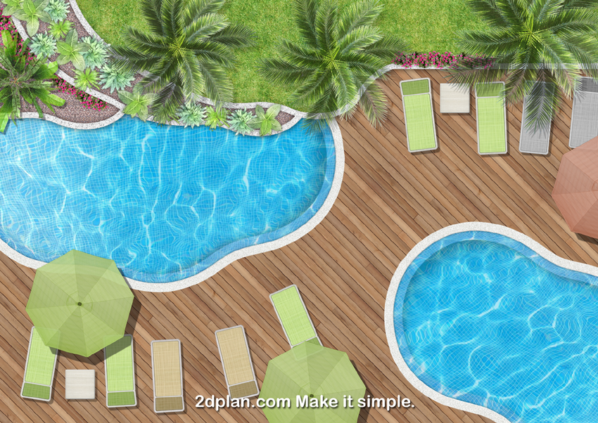 Swimming pool top view rendering made by using landscape v2 images library arquitectura - Swimming pool design software free ...