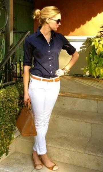 Look: Camisa + Calça Cropped Branca