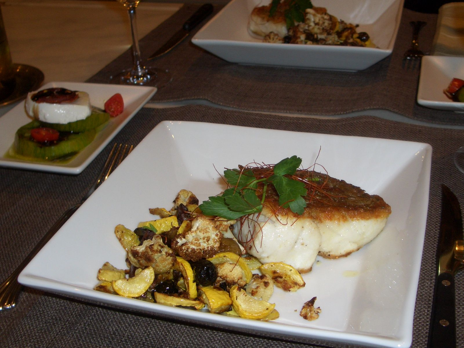 Pan roasted cobia with zucchini and olives this was for Cobia fish recipe