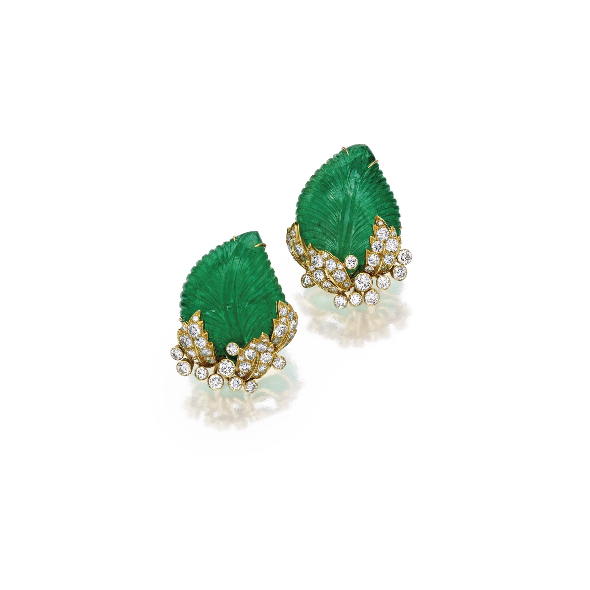 Pair of 18 Karat Gold, Emerald and Diamond Earclips, Marilyn Cooperman | Lot | Sotheby's