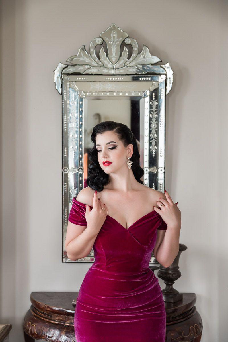Miss Victory Violet smoulders in our Fatale Magenta Velvet Pencil Dress