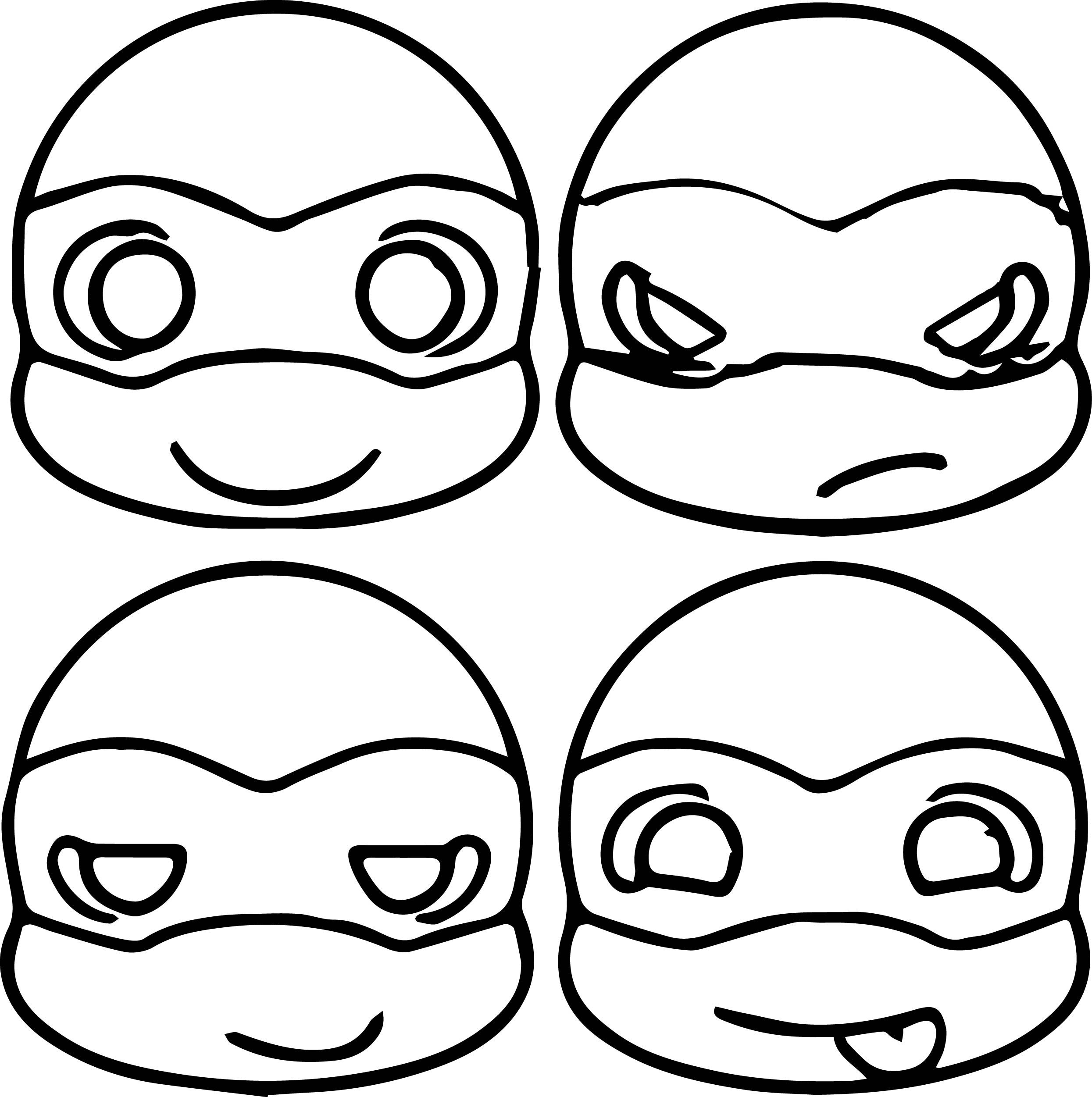 Cute Ninja Turtle Head Coloring Page Cartoons Variety