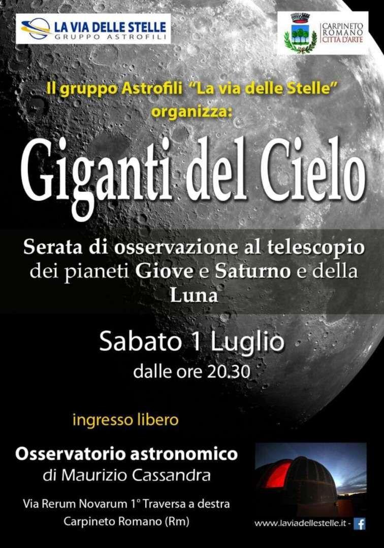 Giganti del Cielo - Serata di osservazione al telescopio dei pianeti Giove e Saturno e della Luna - Carpineto Romano