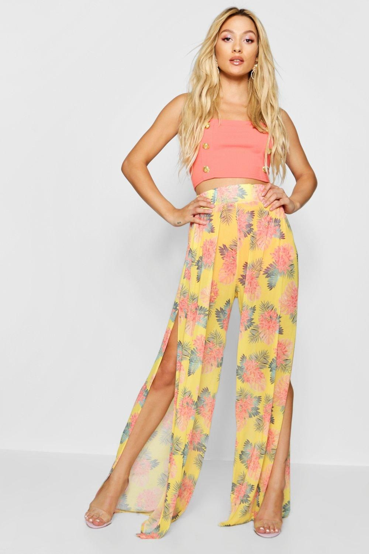 7f5cb1e40598 Paris Hilton Tropical Print Mesh Wide Leg Trousers from Boohoo, part of our  latest Paris Hilton x boohoo collection