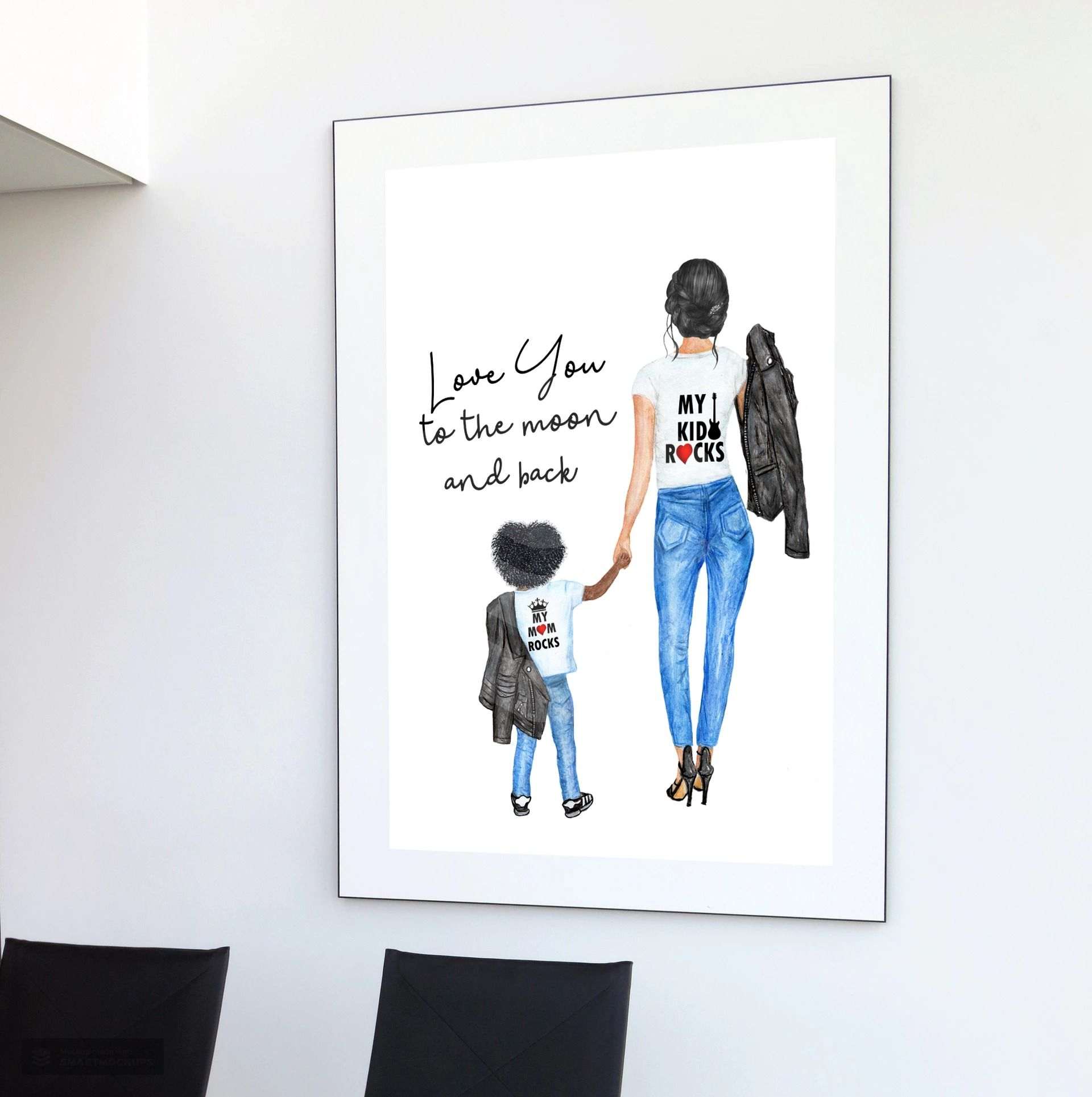 Love You To The Moon And Back Mother Daughter Child Wall