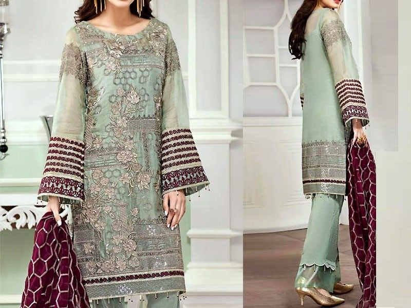 a625a7ad67 Embroidered Chiffon Suit with Silk Trouser For more details and real  pictures visit: PakStyle.pk #pakstylepk #weddingdresses #chiffonsuits  #fancydresses ...