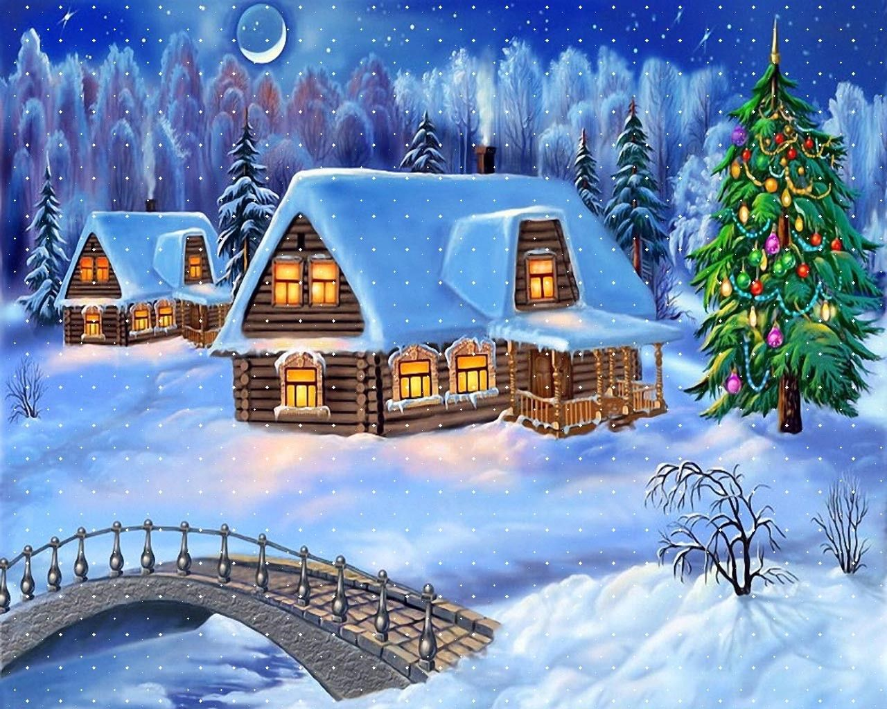 Snowy Christmas Night Decoration with Christmas Tree Wallpaper ...