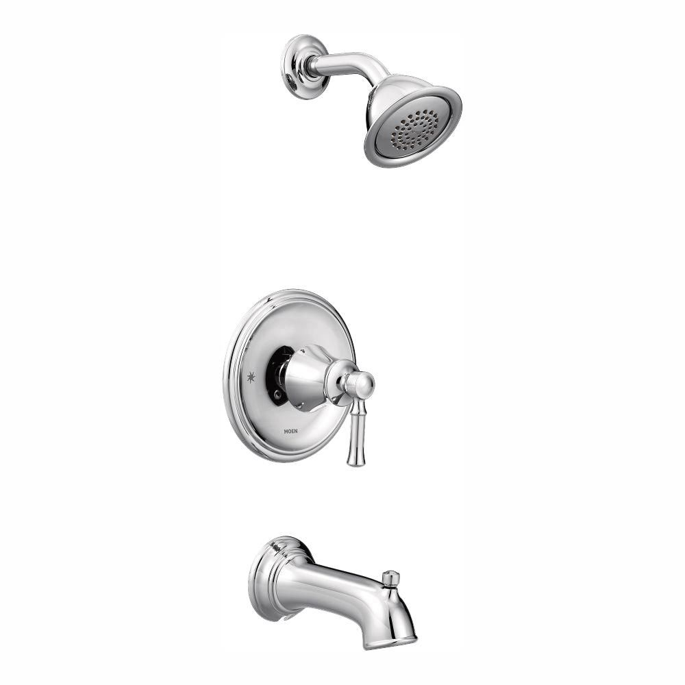 Moen Dartmoor Posi Temp Watersense 1 Handle Wall Mount Tub And Shower Faucet Trim Kit In Chrome Valve Not Included Grey Tub Shower Faucets Bath Shower Mixer Shower Tub