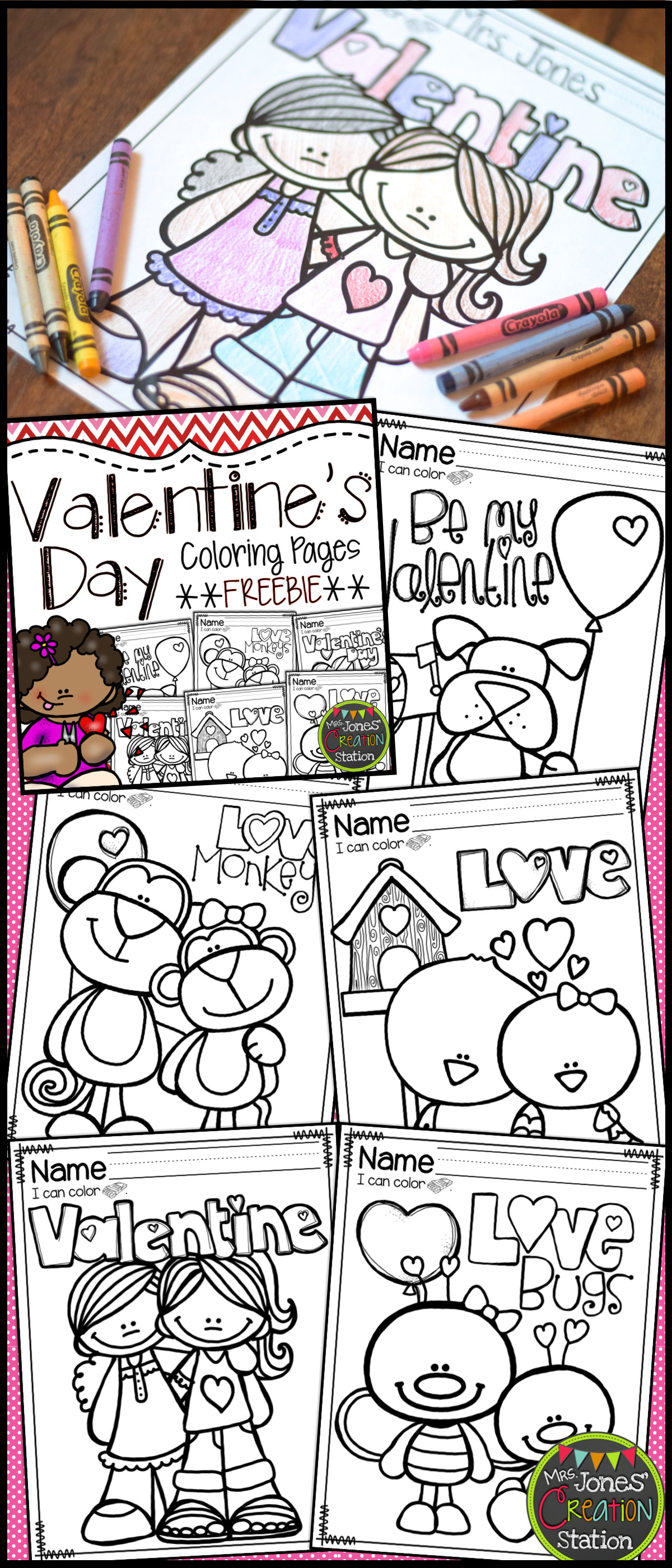 Valentines Day Coloring Pages FREEBIE  Mrs Jones Creation