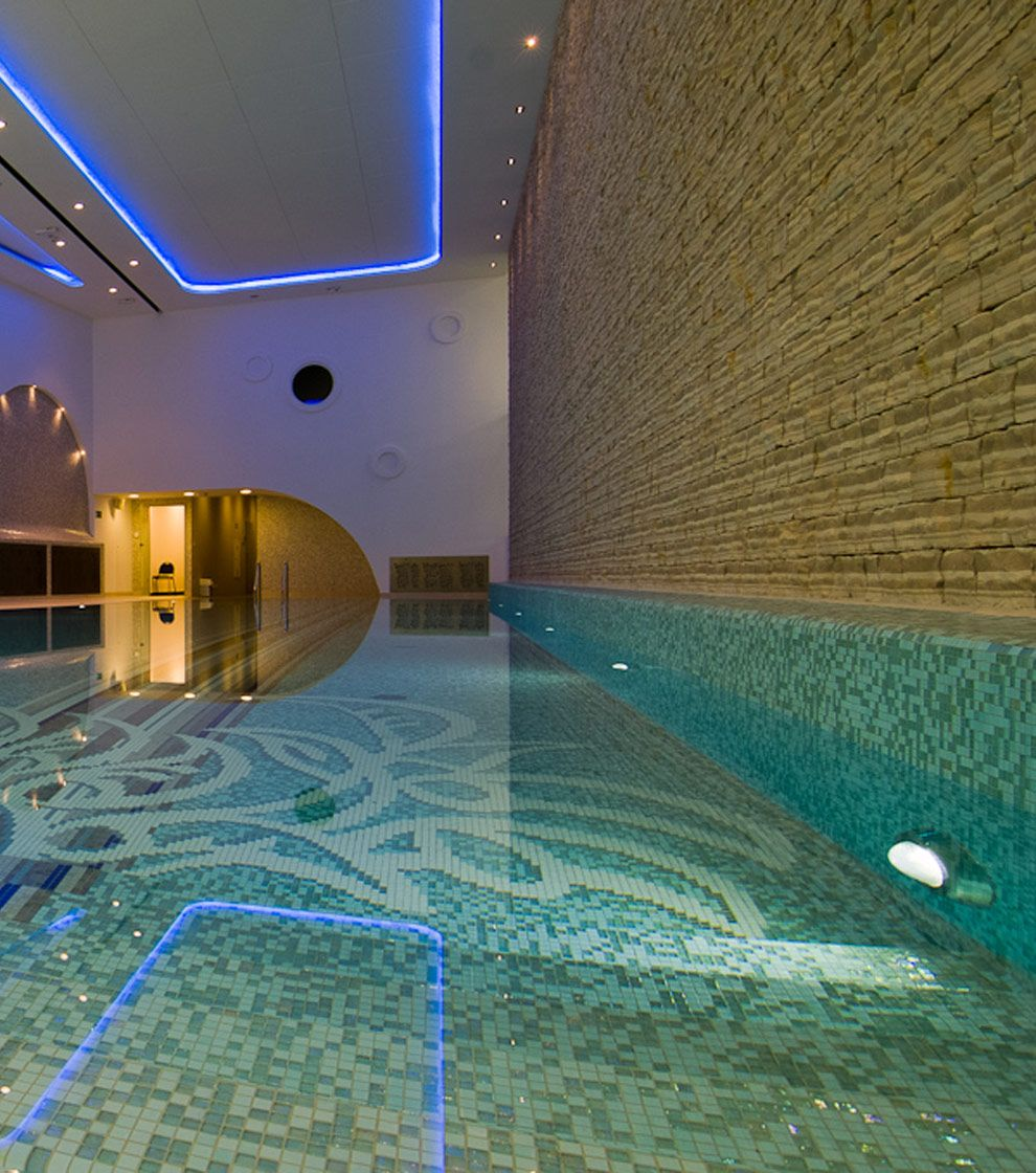 This SICIS Pool In A Polish Hotel Layers A Custom Pattern Over Straight  Lines. Design