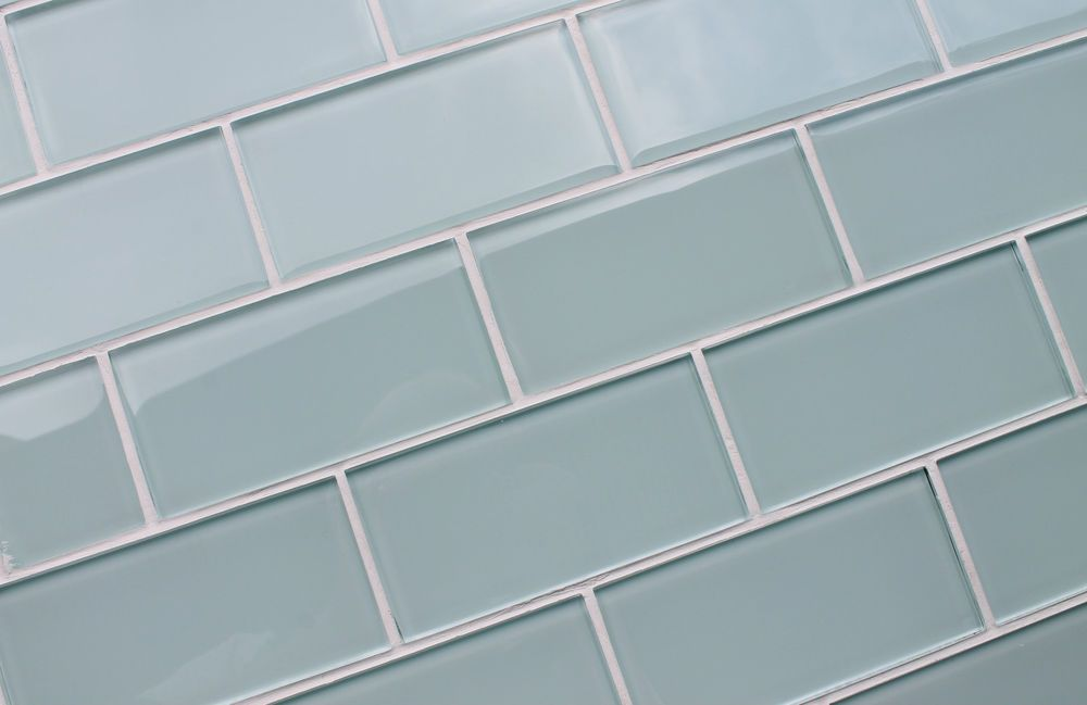 Ice Age Light Blue Green 3x6 Glass Subway Tiles For Kitchen