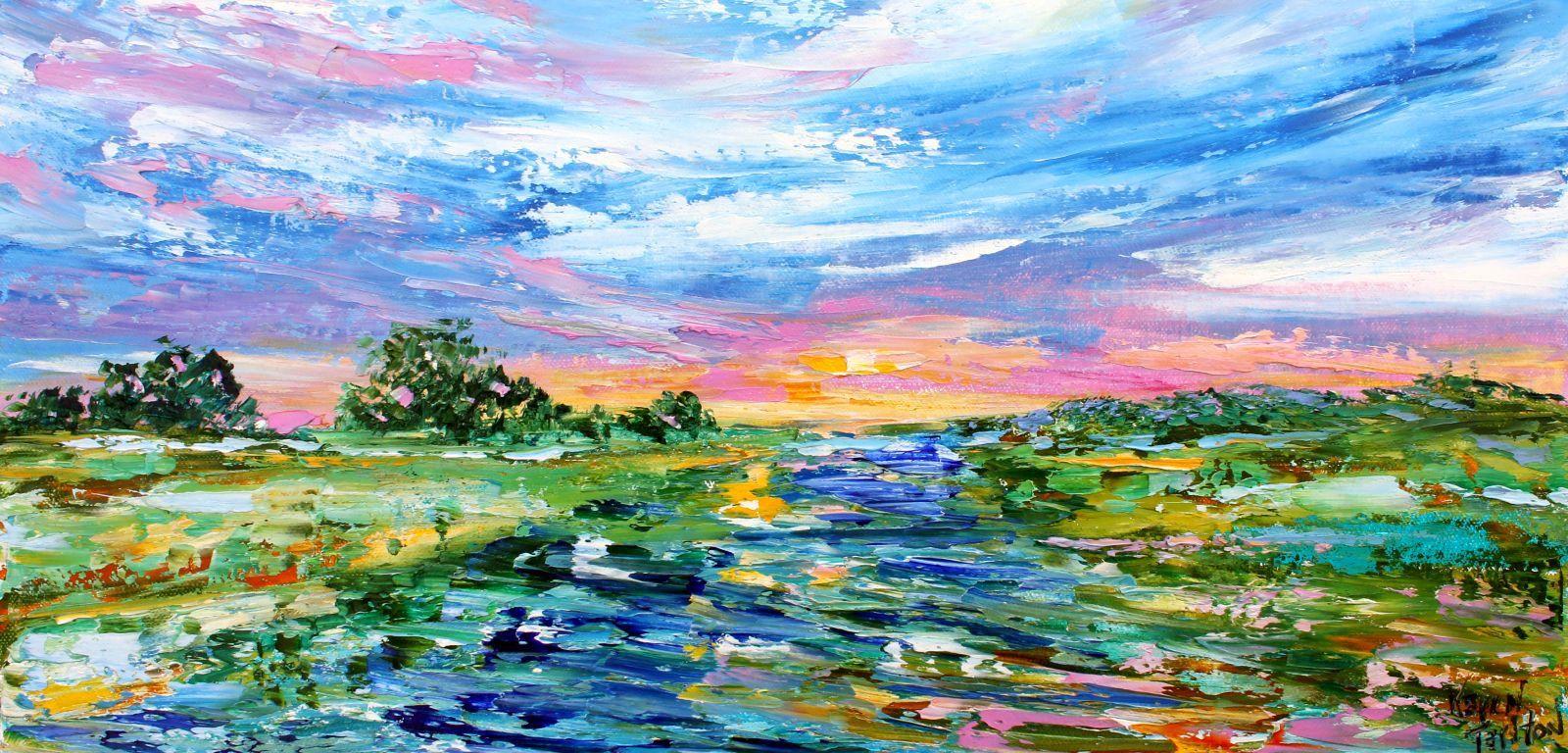 Marsh Sunrise Landscape Painting In Oil Palette Knife Impressionism On Canvas Fine Art By Karen Ta Landscape Paintings Oil Painting Landscape Sunrise Landscape