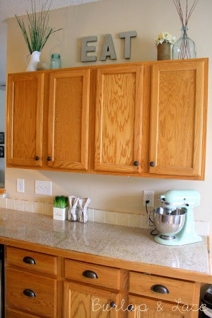 Burlap And Lace My Kitchen Long Post Picture Overload Decorating Above Cabinets Decor Remodel
