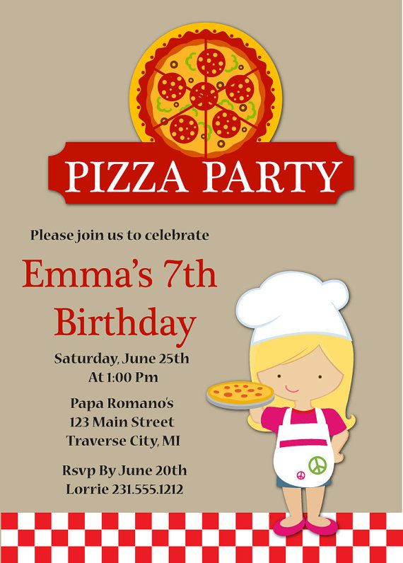 Pizza Party Birthday Invitation Kids Pizza Party Invitation - Childrens birthday parties pizza hut