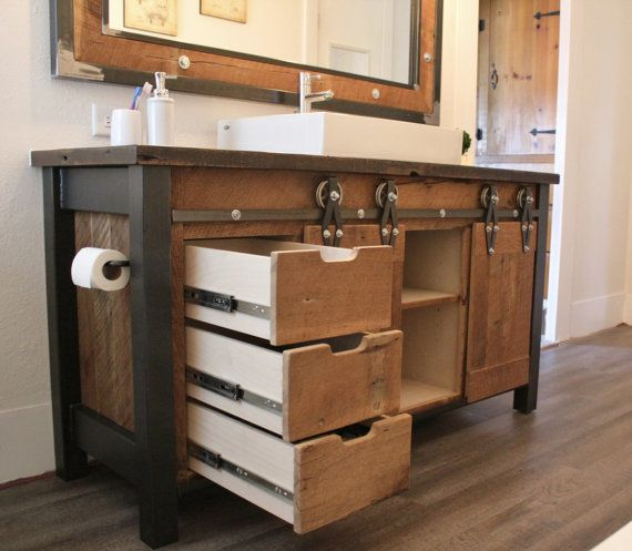 Rustic Industrial Light Steel And Barn Wood Vanity Light: Reclaimed Barn Wood Vanity W