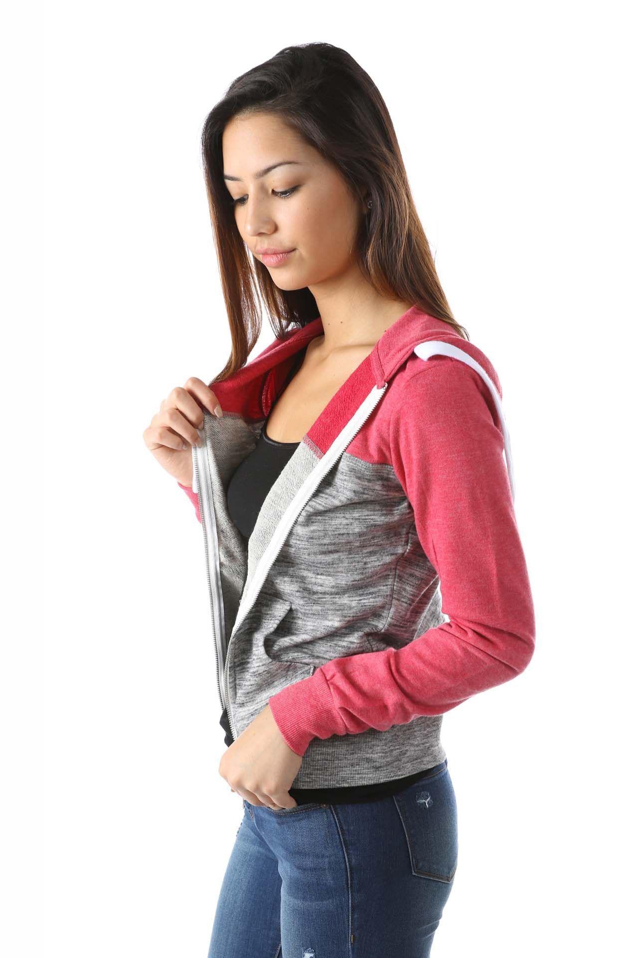 Salt Tree Women's Color Block Basic Zip Up Hoodie, US Seller