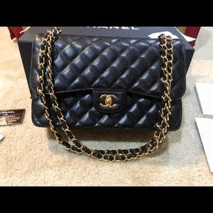 525d20a88e82 I just added this to my closet on Poshmark: Chanel Jumbo Double Flap  Caviar- Black w/ GHW. Price: $4,500 Size: Jumbo