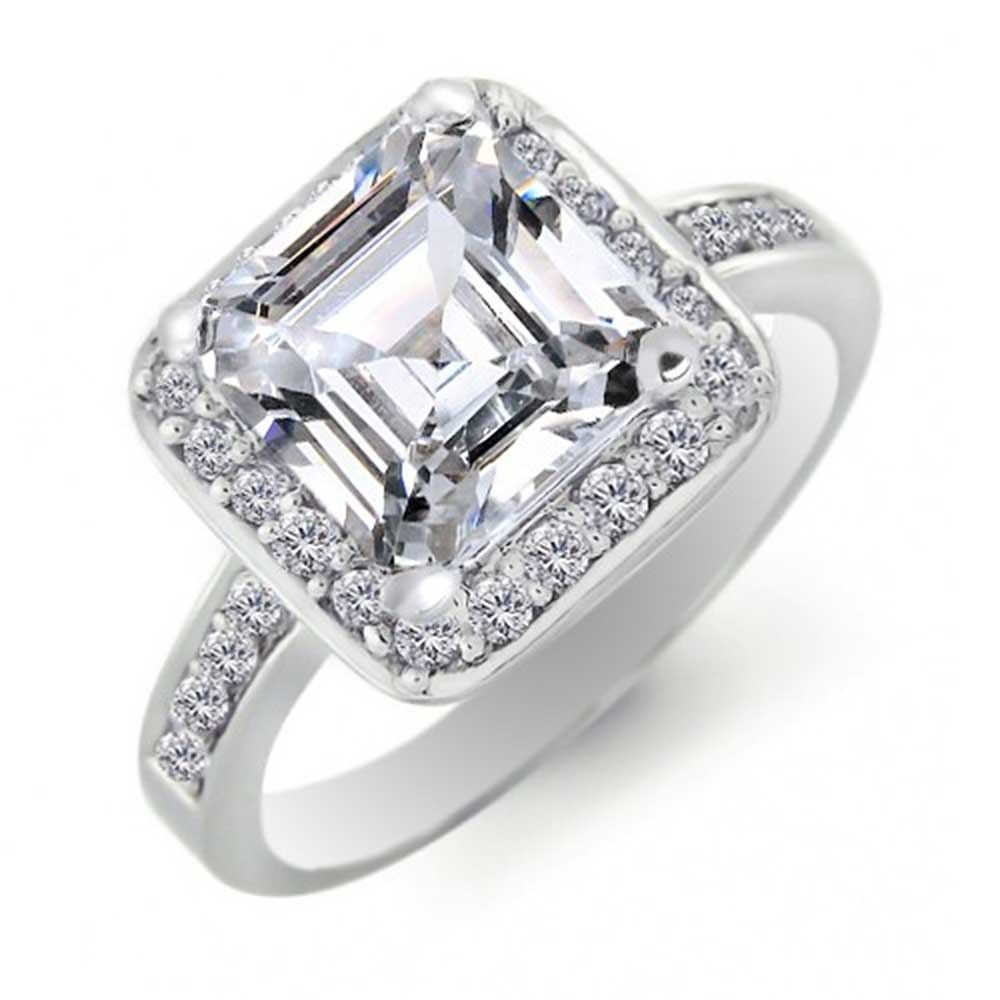 393509d0d6 Classic Square Cut Colorless Cubic Zirconia Asscher 925 Sterling Silver CZ  Pave Band Promise Engagement Ring