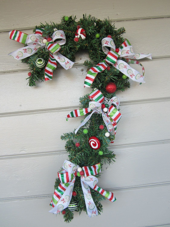 Christmas Wreath Candy Cane Wreath Outdoor Christmas