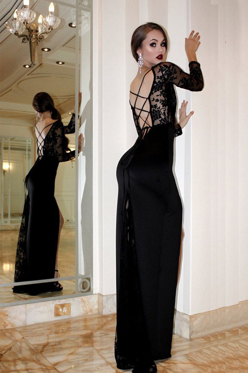 Lace Illusion Long Sleeves Prom Dress Black Sheath Backless Evening Dress With Backless Evening Dress Prom Dresses Long With Sleeves Prom Dresses With Sleeves [ 1194 x 796 Pixel ]