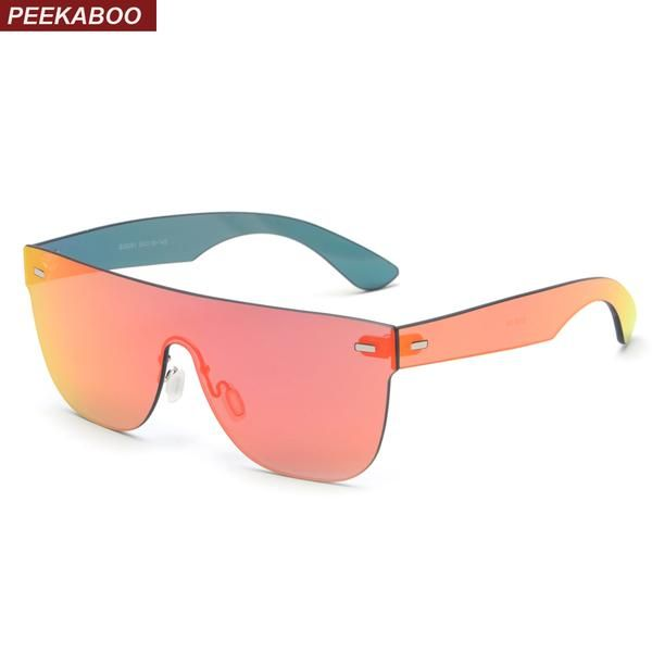 FASHION  NEW Peekaboo one piece sunglasses men mirror red rose gold high  quality rimless frameless sun glasses for women 2018 e0848ccd11