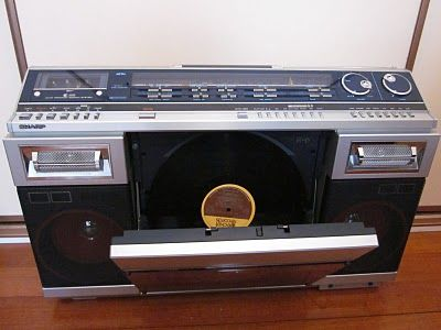 Sharp VZ-2000 Ghettoblaster with autoreversing dual stylus linear tracking record player (1982)