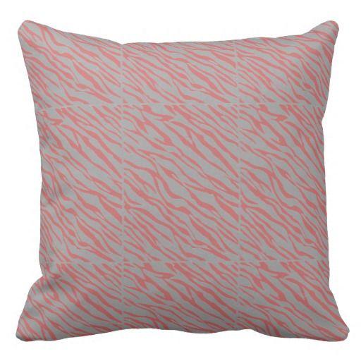 Zebra Print Reversible Pillow Peach Teal Grey Zebra Print Reversible Pillow Peach Teal Grey