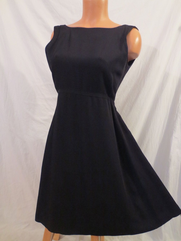 LITTLE BLACK DRESS classic vintage style - open back, flared skirt ...