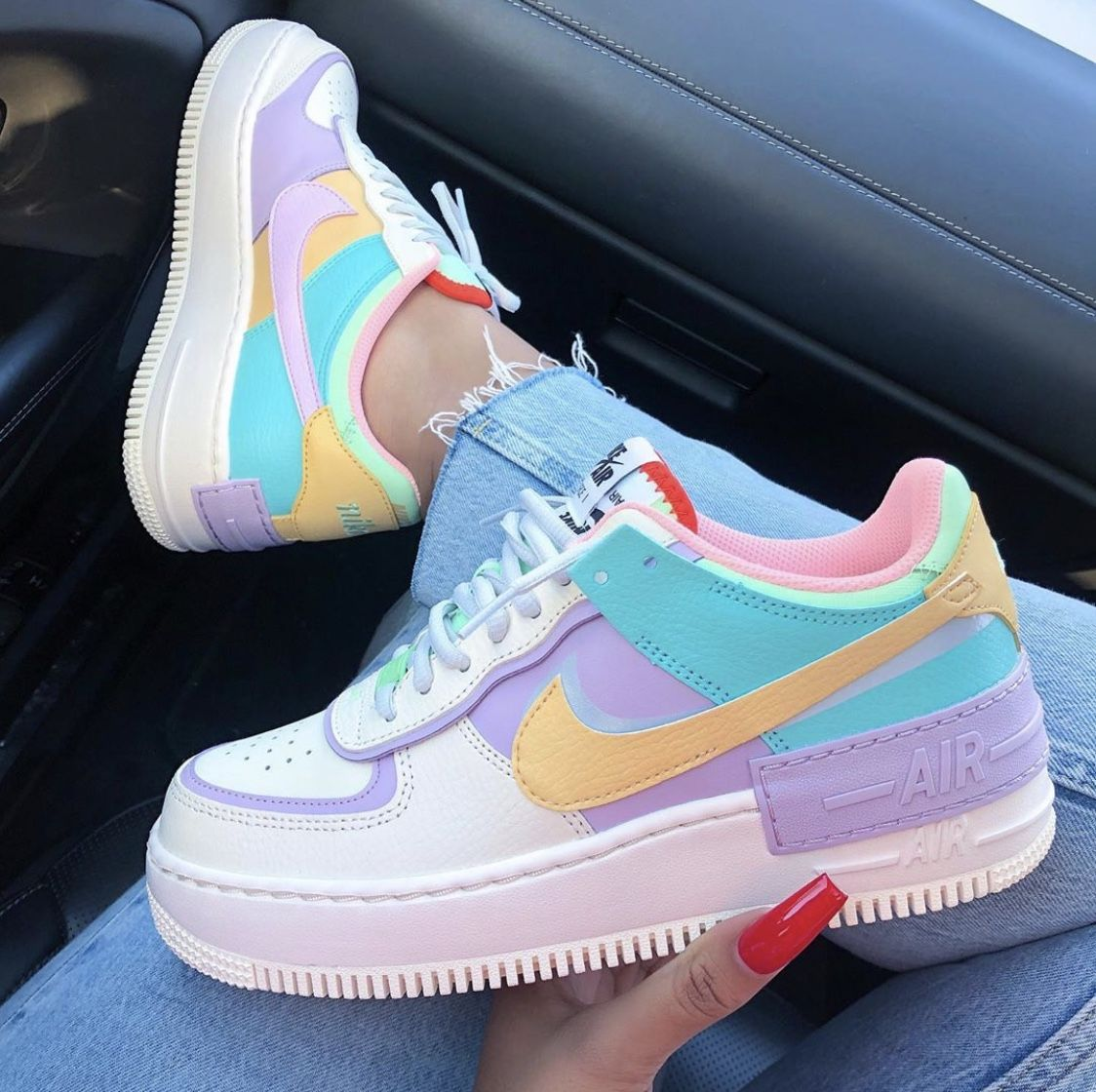 Nike Air Force 1 Shadow Pastel Multi Funny Shoes Sneakers Fashion Fresh Shoes
