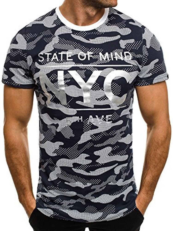 1c573159f0f823 OZONEE Herren T-Shirt mit Motiv Kurzarm Rundhals Figurbetont J.STYLE SS124 DUNKELBLAU  M