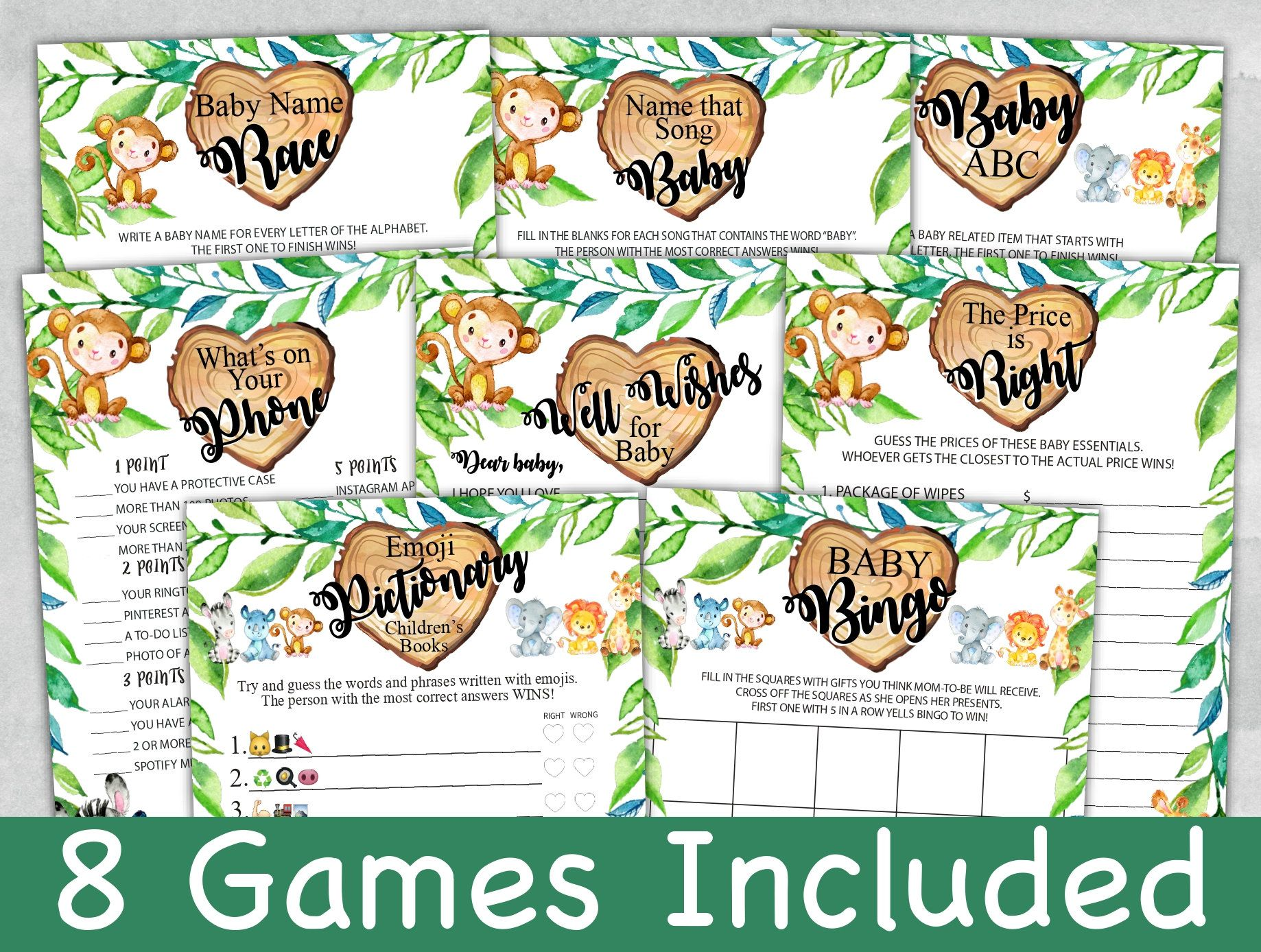 Safari Baby Shower Games Bundle, Safari Baby Shower Games, Emoji Pictionary, Bingo, Well Wishes Baby, Set of 8, Template, Instant Download