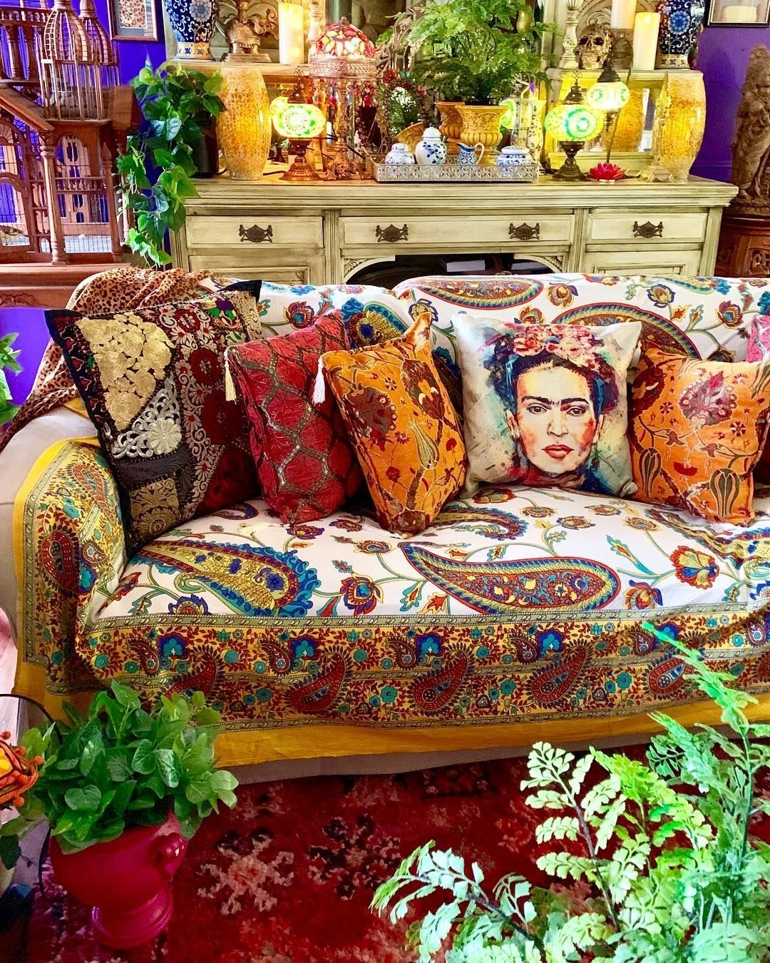 Cushions And Tapestry Sofa Cover