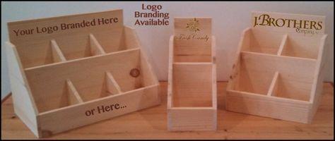 Custom Branded Rustic Wood Counter Top Pop Display Snacks Candy