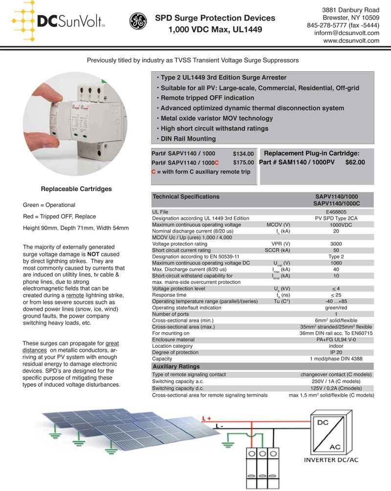 to DC Sun Surge protection, Safety