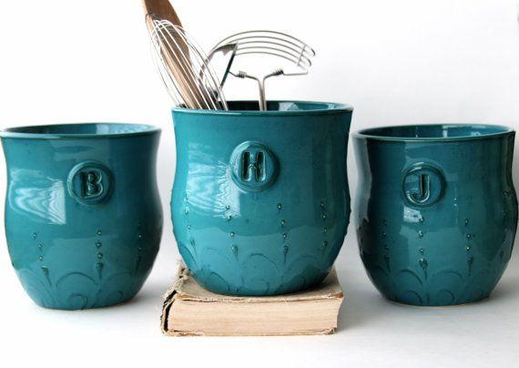 monogram kitchen dark teal turquoise utensil by backbaypottery 6950 - Turquoise Kitchen Decor