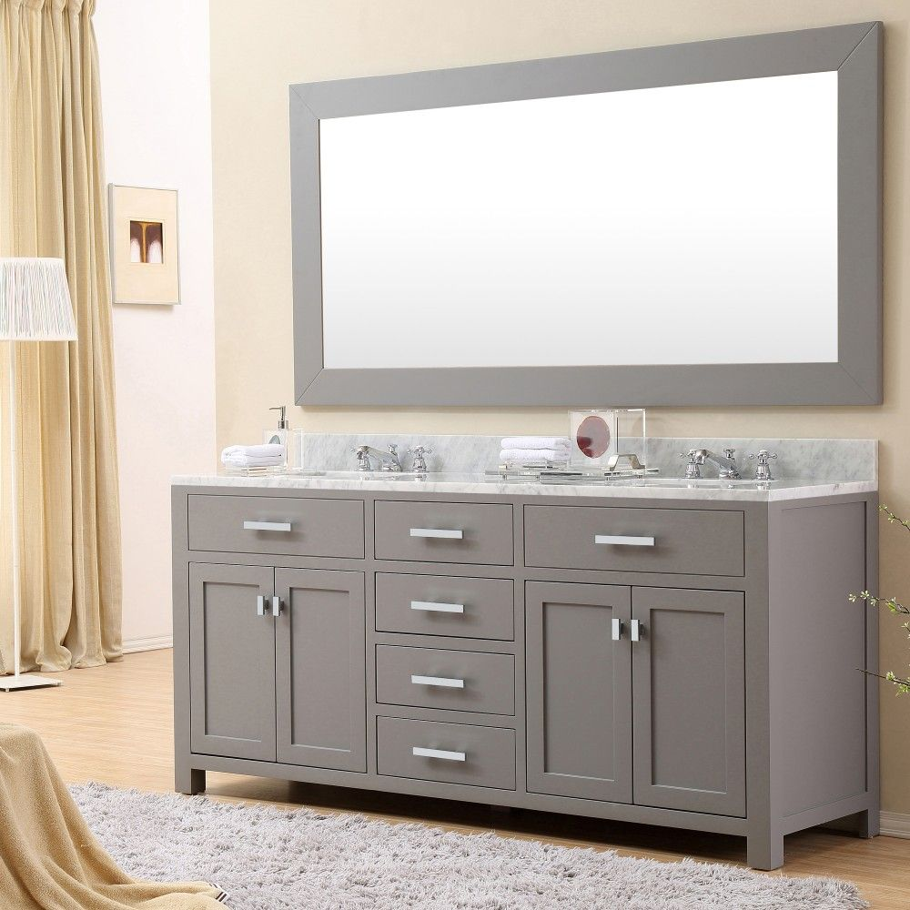 Water Creation Madison 72G 72 Cashmere Grey Double Sink Bathroom Vanity