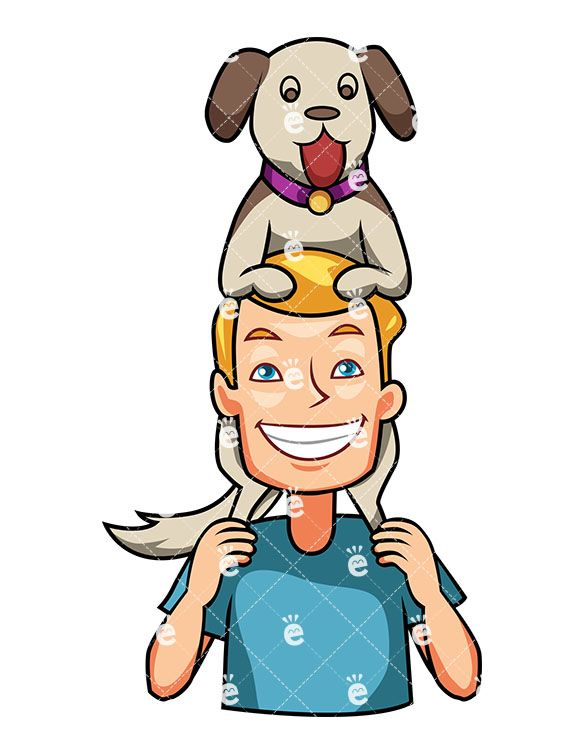 A Grinning Man Holding His Dog Atop His Shoulders Cartoon Dog