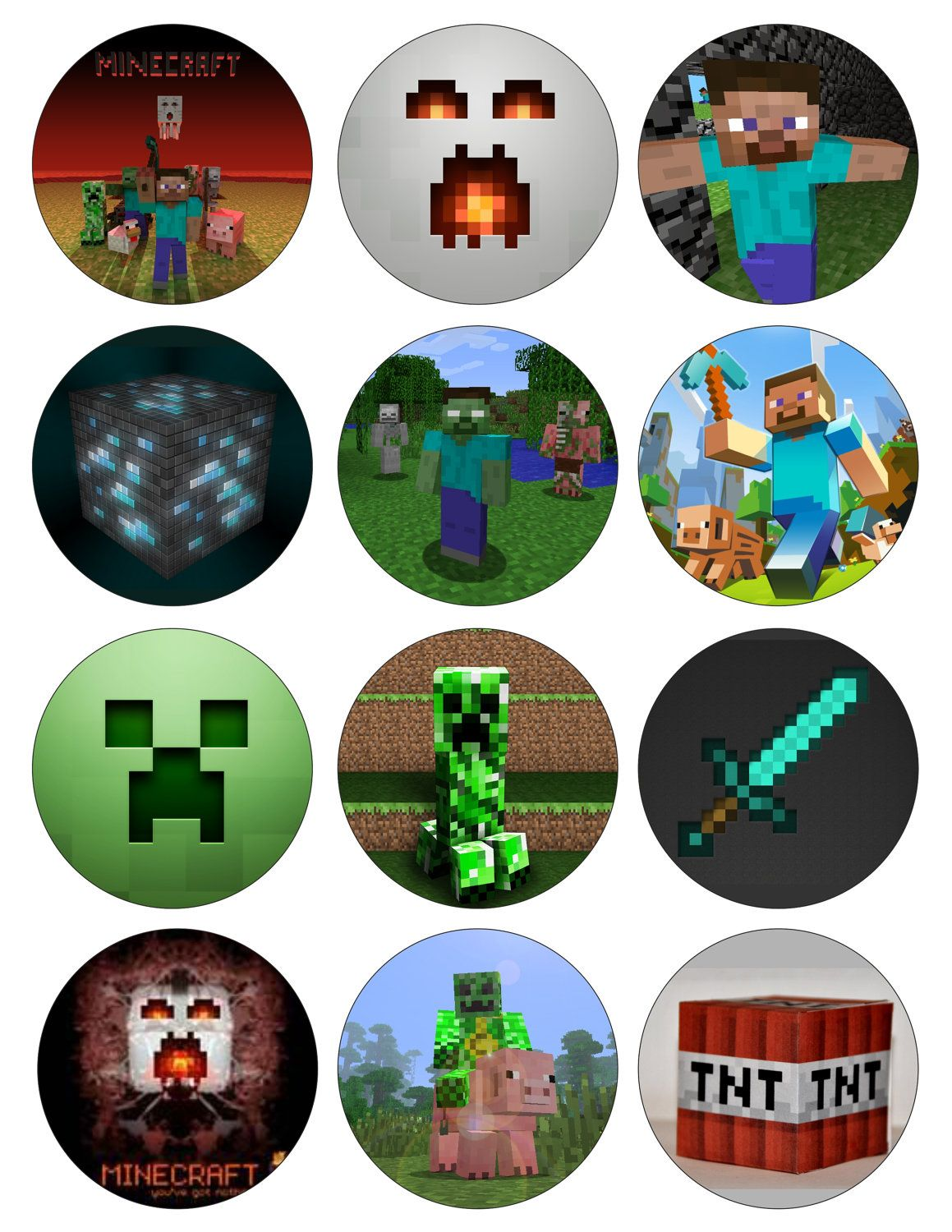 This is a graphic of Resource Printable Minecraft Cupcake Toppers