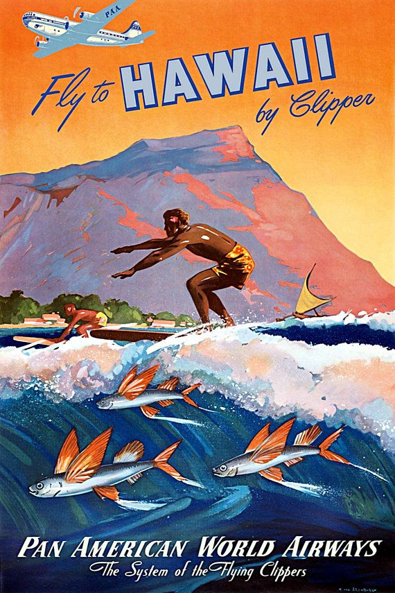 Travel Poster Fly to Hawaii by clipper ca.1950 Pan