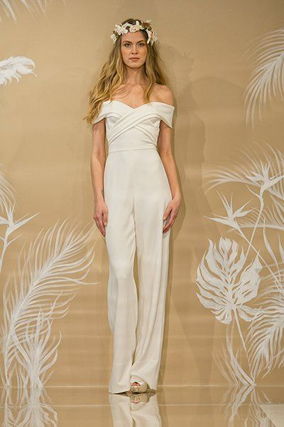 de8bed184283 Ivory crepe off-the-shoulder strapless sweetheart jumpsuit by Theia. Wedding  Gowns