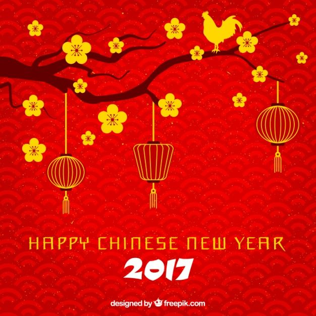 Red Happy Chinese New Year Background With Branch And Golden