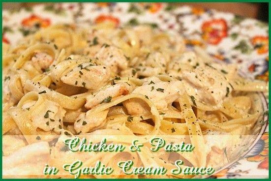 Chicken and Pasta with Garlic Cream Sauce http://www.momspantrykitchen.com/chicken-and-pasta-with-garlic-cream-sauce.html