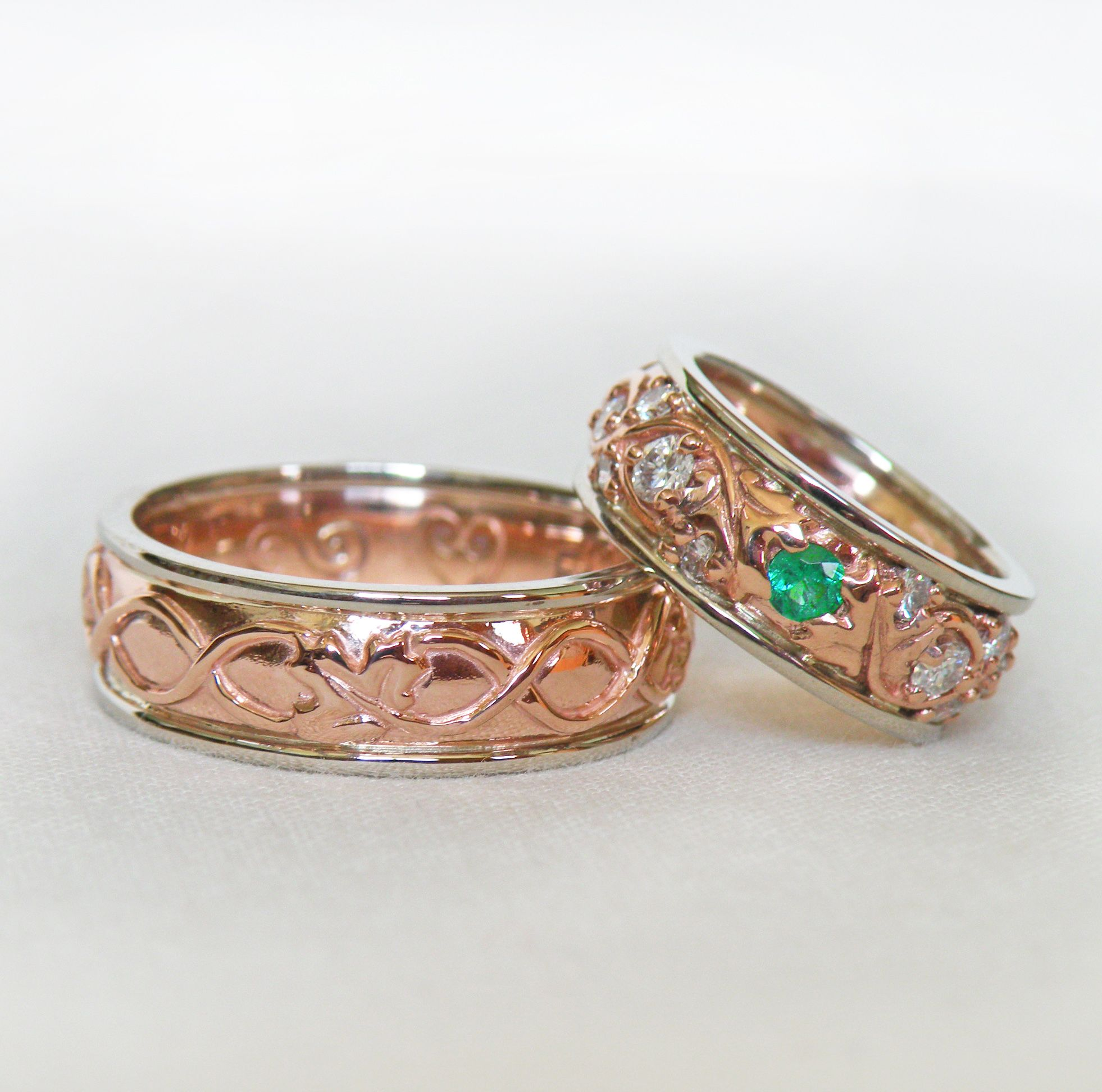Woman's Band Set With Diamonds And A Central Emerald The Design Has Twining Celtic Knots Maple Leaves Spaced Throughout: Maple Leaf Wedding Band At Websimilar.org