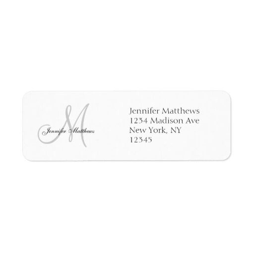 Monogram Wedding Invitation Simple Address Labels  Wedding Labels