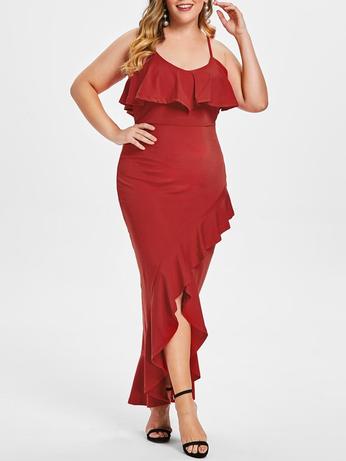 2970e50b81 Ruffle Hem Plus Size Asymmetrical Party Dress