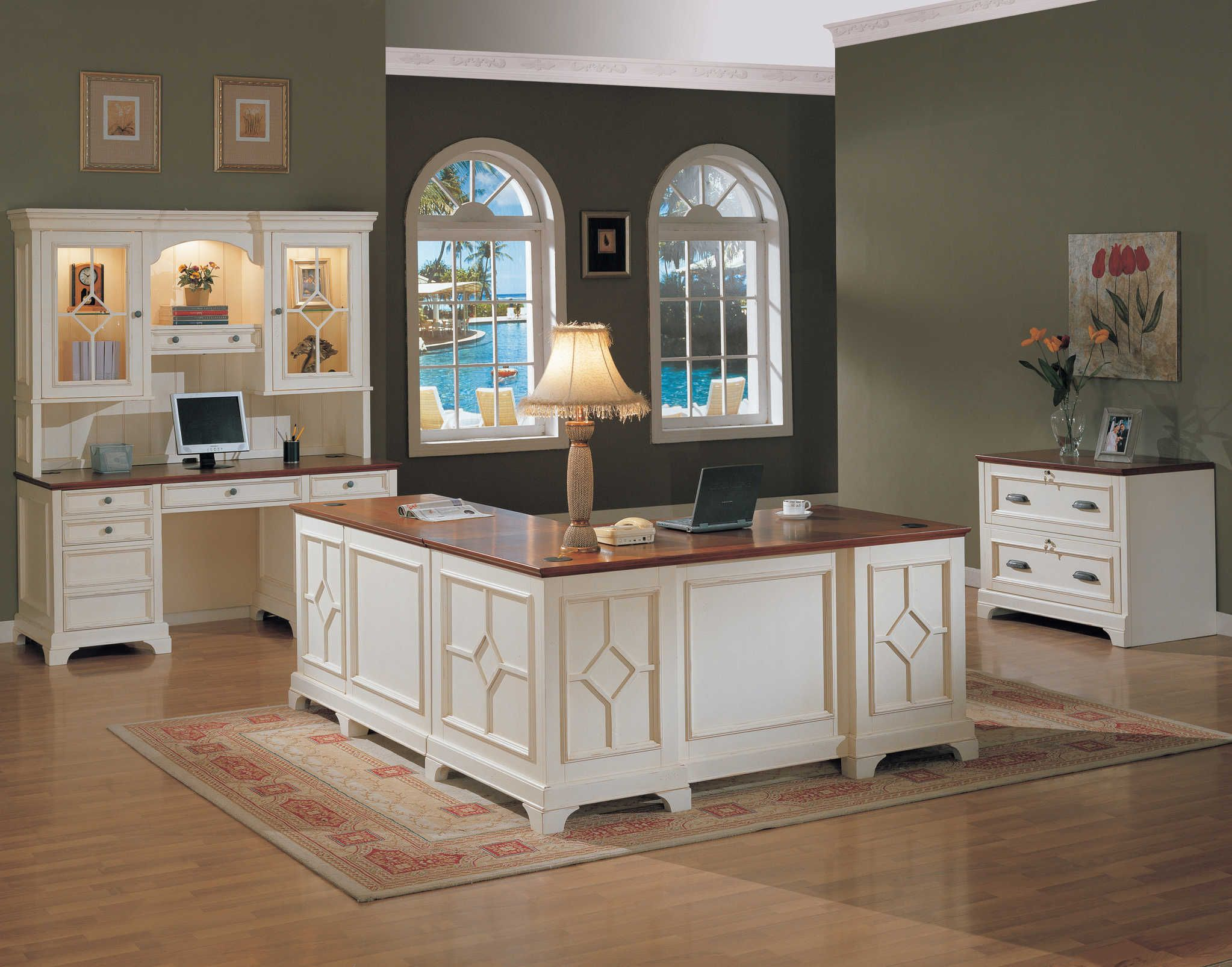 Traditional Distressed White Home Office Furniture With Return